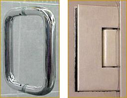 Shower door handle and hinges