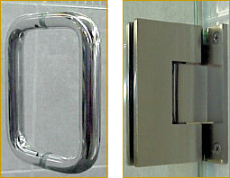 Shower door handle and hinges