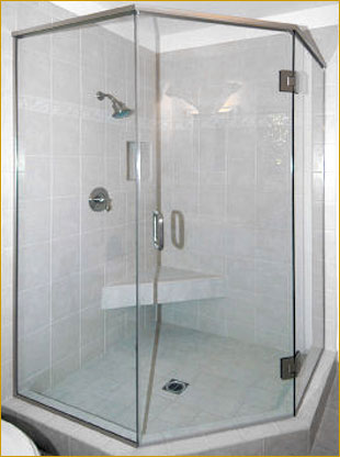 Showcase Your Neo Angle Shower With Our 3 8 Tempered Gl Enclosure The Stationary Panels Are Held In Place Aluminum Channel Optional Clamps